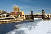 Ice covered Mississippi River, Saint Paul, Minnesota, USA