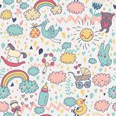 Gentle baby's seamless pattern. Toys, children's clothes, animals in the sky. Best pattern for wrapping paper for babies