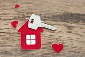 picture of keyholes  - key with label home - JPG