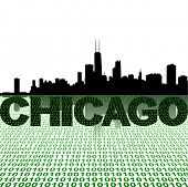 Chicago skyline with binary foreground vector illustration