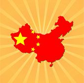 China map flag on sunburst vector illustration