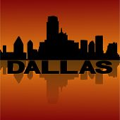 Dallas skyline reflected at sunset vector illustration