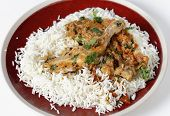 Basic balti chicken on a bed of white basmati rice