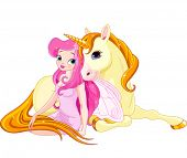 stock photo of unicorn  - Illustration of Fairy and Unicorn - JPG