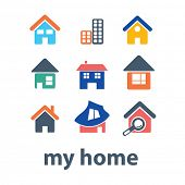color house, home, buildings icons set, vector