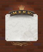 Menu wooden signboard and paper banner on vintage brick wall - vector illustration