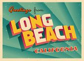 Vintage Touristic Greeting Card - Long Beach, California - Vector EPS10. Grunge effects can be easil
