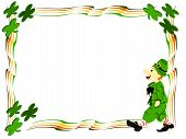 picture of fourleaf  - editable eps vector format irish leprecahun walking dressed in green suit and hat with striped red and white socks surrounded by edge boarder of colorful stripes and fourleaf clover in each corner - JPG