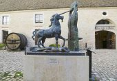 The Unicorn bronze statue by Salvador Dali at the Court Square inside of Chateau de Pommard winery