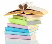 stock photo of short-story  - Stack of books isolated on white - JPG
