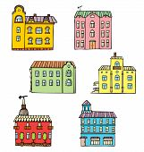 Set Of Cute Cartoon Graphic Buildings Isolated On White