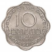 stock photo of sinhala  - 10 Sri Lankan rupee cents coin isolated on white background - JPG