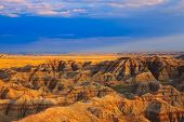 sunset color in badlands national park