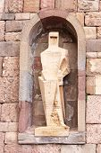 picture of rebuilt  - Saint Ramon Llull Statue by Joseph Maria Subirachs Monestir Monastery of Montserrat Barcelona Catalonia Spain Founded in t9th Century destroyed 1811 when French invaded Spain Rebuilt in 1844 - JPG