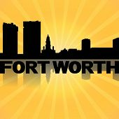 Fort Worth skyline reflected with sunburst illustration