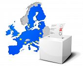 detailed illustration of a ballot box in front of the European Map, members of the European Union ar