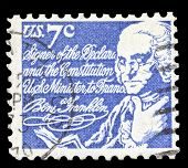 USA-CIRCA 1972: A postage stamp shows image portrait of Benjamin Franklin one the founding fathers and known as the first American, circa 1972.