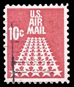 USA-CIRCA 1968: A 10 cent United States Airmail postage stamp shows image of white stars on a red background, stamp is known as the runway, circa 1968.