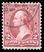 USA-CIRCA 1908: A postage stamp shows image portrait of George Washington the 1st President of the United States of America, circa 1908.