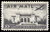 USA-CIRCA 1947: A 10 cent United States Airmail postage stamp, shows image a Martin 202 plane over P