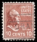 USA-CIRCA 1938: A postage stamp shows image portrait of John Tyler the 10th President of the United States of America, circa 1938.