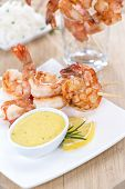 picture of tiger prawn  - Fresh made Tiger Prawn on a Skewer - JPG