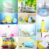 Collage of washing dishes, close-up