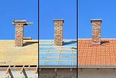 Three Phases Of A Roof Construction.