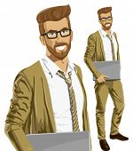 Vector hipster business man with laptop in his hands