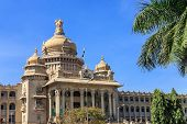 stock photo of vidhana soudha  - Vidhana Soudha the state legislature building in Bangalore India - JPG