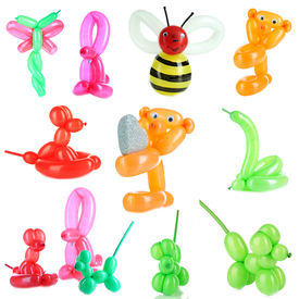 stock photo of parti poodle  - Collage of simple balloon animals isolated on white - JPG