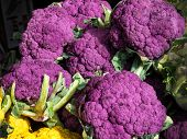 Purple Cauliflowers At A Farmers Market