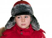 A Boy In Winter Clothing Isolated On White Background