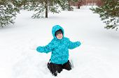 Boy In Blue Jacket Playing In A Winter Park