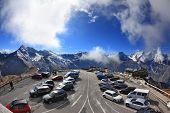 ALPS, AUSTRIA - OCTOBER 2, 2013: Picturesque alpine road Grossglocknershtrasse. Parking. Photo taken