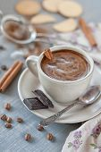 image of scum  - Cup of coffee with cinnamon and chocolate chips on saucer - JPG