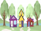 Illustration Featuring Cute Tiny Houses