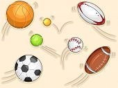 Illustration Featuring Balls Used in Different Sports