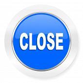 close blue glossy web icon