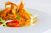 image of green papaya salad  - green papaya salad with crispy soft shell crab