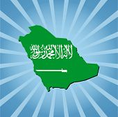 Saudi Arabia map flag on blue sunburst illustration