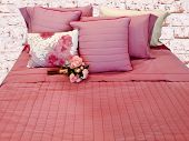 Beautiful bedclothing in pastel pink