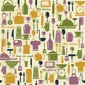 Seamless Background With Colorful Kitchen Icons.