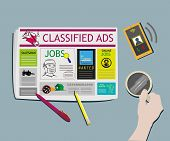 Classified Ads Newspaper concept Top View