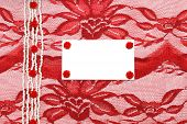 Background With Red Decoration Accessories, Lace And Rose With Space For Your Text
