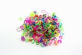 Group Of Colorful Elastic Rainbow Loom Bands.