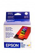 Hayward, CA - August 7, 2014: Epson ink Jet printer Color ink cartridge in package