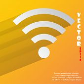 WI-FI. Flat modern web button with long shadow and space for your text