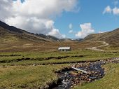 River Calder, Glen Banchor Bothy, West Of Newtonmore, With Hills And Track In The Background