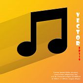 Music note. Flat modern web button with long shadow and space for your text.